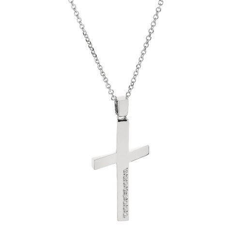 Cross Pendant - white gold 18K, zircon