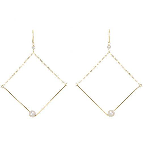 Schemata Earrings - silver, pearl