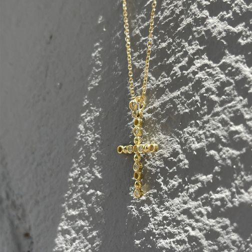 Cross Pendant - gold 14K, diamond