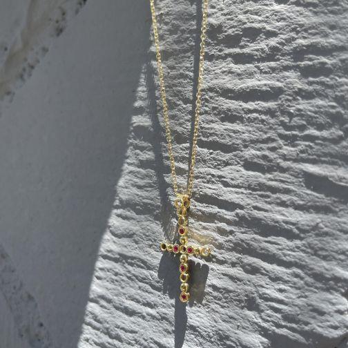 Cross Pendant - gold 14K, ruby