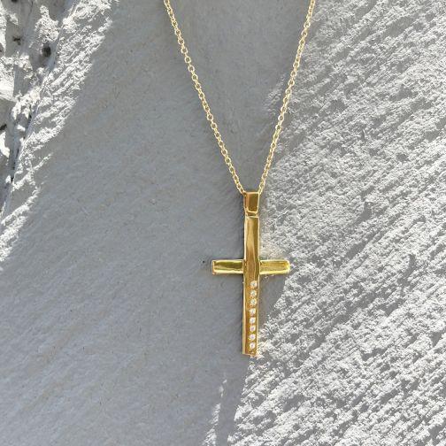 Βαπτιστικός Σταυρός χρυσό 14Κ - διαμάντι