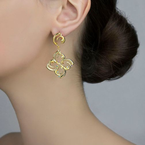 Euphoria Earrings - gold, semi-precious stones