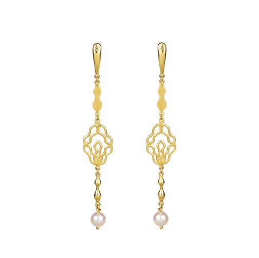 Rhea Earrings - gold, pearl