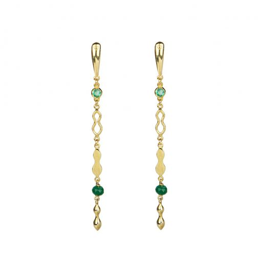 Rhea Earrings - gold, emerald, agate