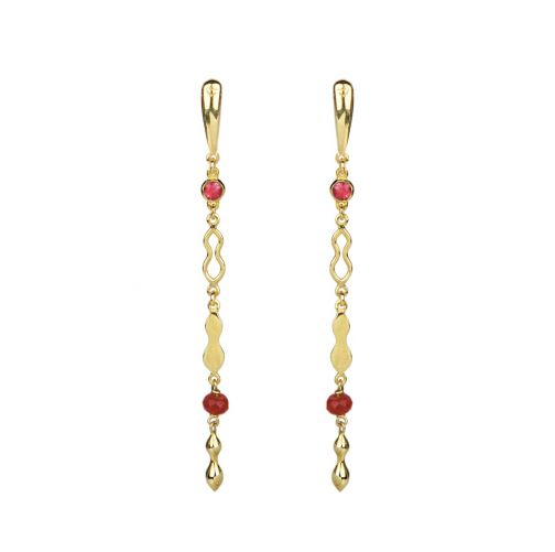 Rhea Earrings - gold, ruby, agate