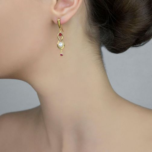 Rhea Earrings - gold, ruby, pearl, agate