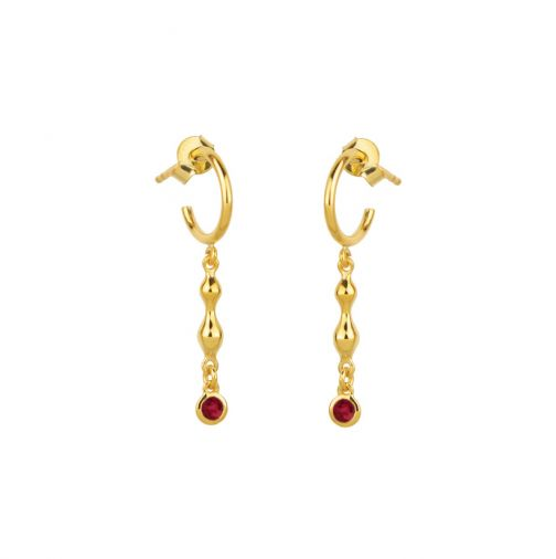 Rhea Earrings - gold, ruby