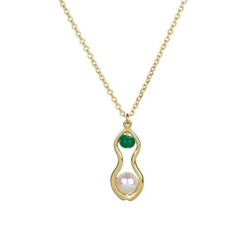 Rhea Pendant - gold, pearl, agate