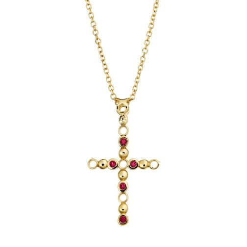 Cross Pendant - gold 18K, zircon