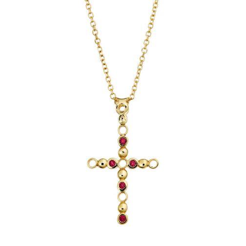 Cross Pendant - gold 18K, ruby