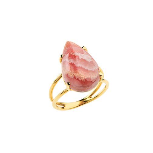 Lifestones Ring - gold, rhodochrosite