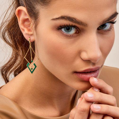 Schemata Earrings - silver, enamel, agate