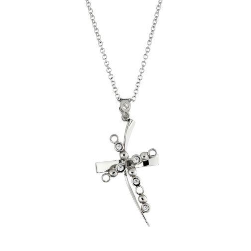Cross Pendant - white gold 14K, diamond