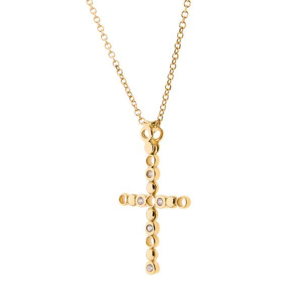 Cross Pendant - gold 14K, zircon