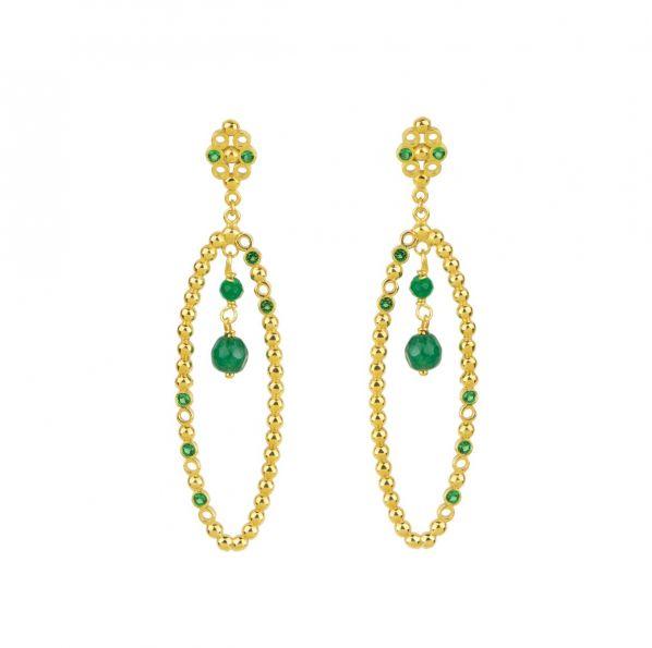 Plethora Earrings - silver, zircon, agate
