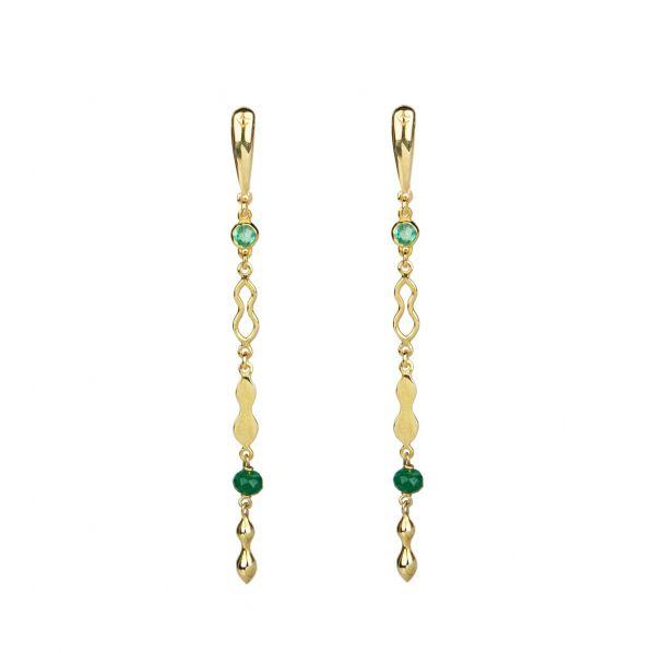 Rhea Earrings - gold, emerald, agate