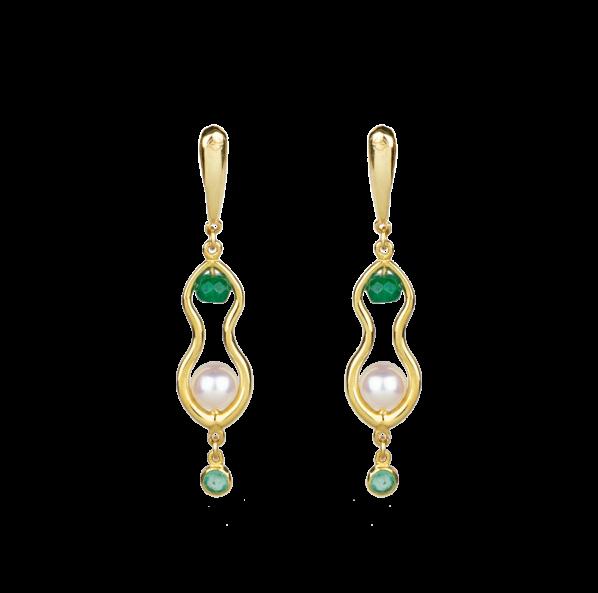 Rhea Earrings - gold, emerald, pearl, agate