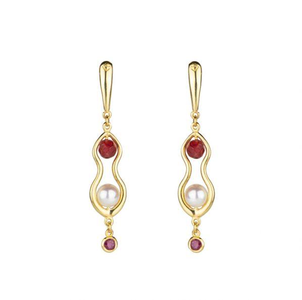 Rhea Earrings - gold, ruby, pearl, agate