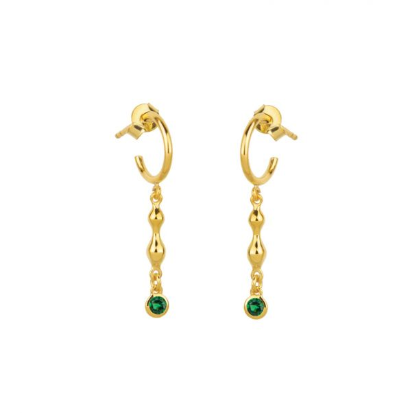 Rhea Earrings - gold, emerald