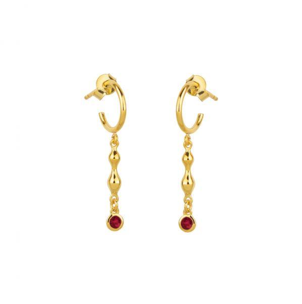 Rhea Earrings - gold, ruby