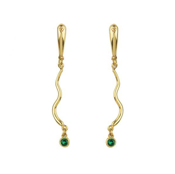 Rhea Earrings - gold, emerald