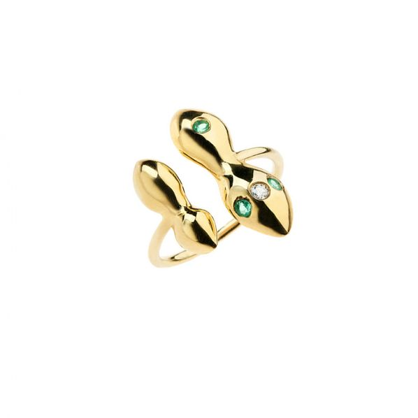 Rhea Ring - gold, emerald, diamond