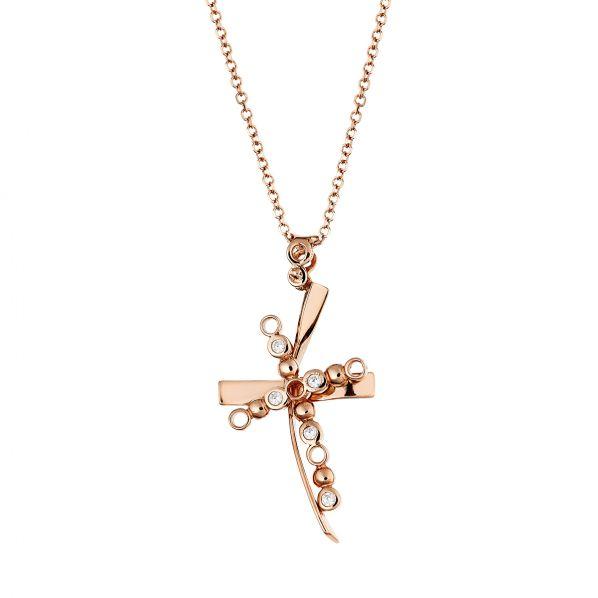 Cross Pendant -rose- gold 14K, diamond