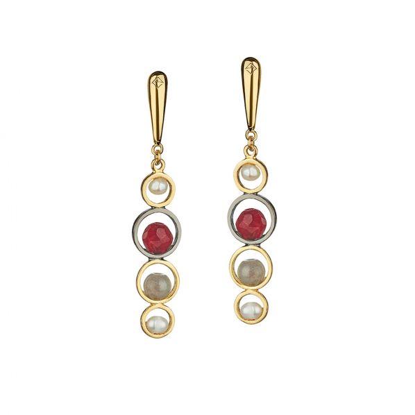 Harmony Earrings - silver, pearl, agate, labradorite