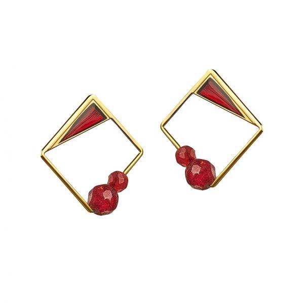 Schemata Earrings - silver, agate,enamel