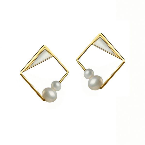 Schemata Earrings - silver, enamel, pearl