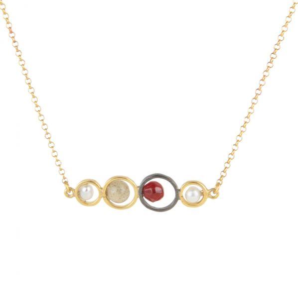 Harmony Pendant - silver, pearl, agate, labradorite