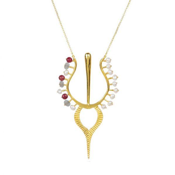 Nostalgia Necklace - silver, pearl, agate, labradorite