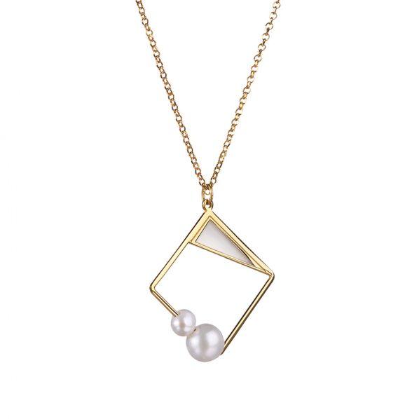 Schemata Pendant - silver, enamel, pearl