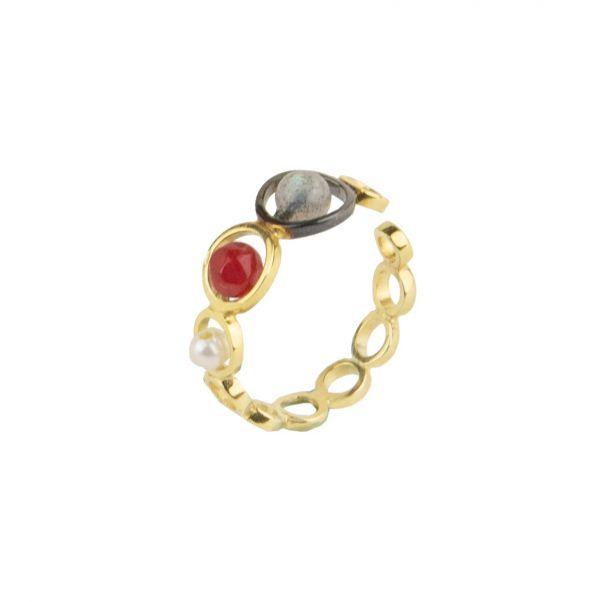 Harmony Ring - silver, pearl, agate, labradorite