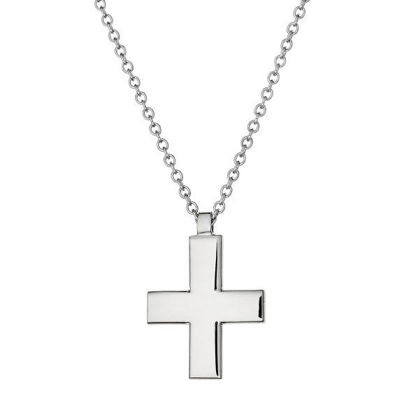 Cross Pendant - white gold 14K